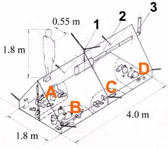 На схеме, составленной следователями 1. Подвесная печка.  2. Шов-соединение двух 4-местных палаток.
